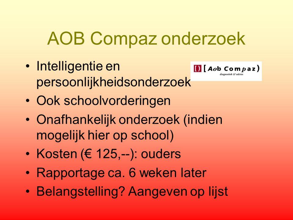 AOB Compaz onderzoek Intelligentie en persoonlijkheidsonderzoek Ook schoolvorderingen Onafhankelijk onderzoek (indien mogelijk hier op school) Kosten
