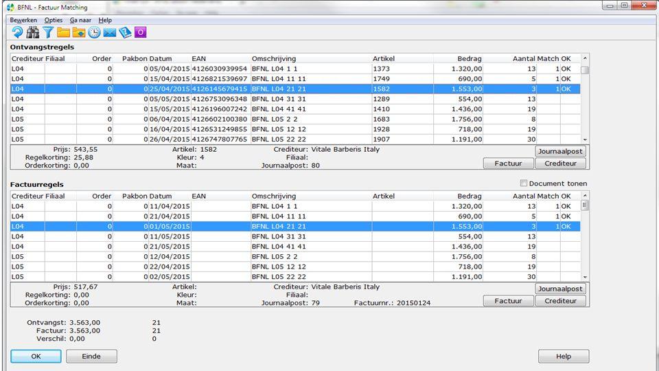 Factmatch Performance verbetering Afboeken koersverschillen bij aut.matchen Ontvangstregels <> Factuurregels