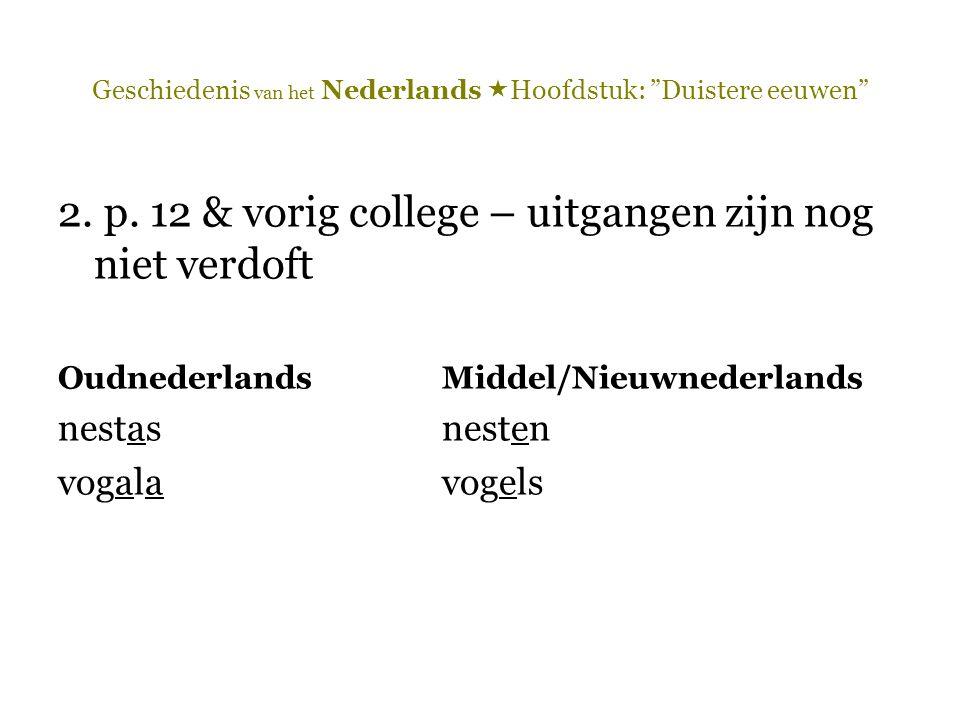 """Geschiedenis van het Nederlands  Hoofdstuk: """"Duistere eeuwen"""" 2. p. 12 & vorig college – uitgangen zijn nog niet verdoft OudnederlandsMiddel/Nieuwned"""