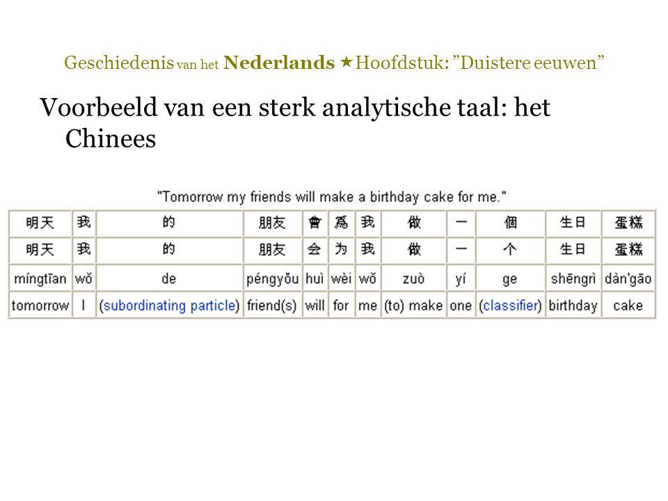 """Geschiedenis van het Nederlands  Hoofdstuk: """"Duistere eeuwen"""" Voorbeeld van een sterk analytische taal: het Chinees"""