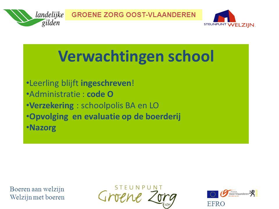 GROENE ZORG OOST-VLAANDEREN Boeren aan welzijn Welzijn met boeren EFRO Verwachtingen school Leerling blijft ingeschreven.