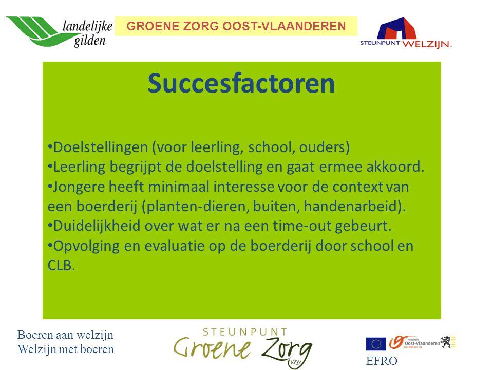 GROENE ZORG OOST-VLAANDEREN Boeren aan welzijn Welzijn met boeren EFRO Succesfactoren Doelstellingen (voor leerling, school, ouders) Leerling begrijpt de doelstelling en gaat ermee akkoord.