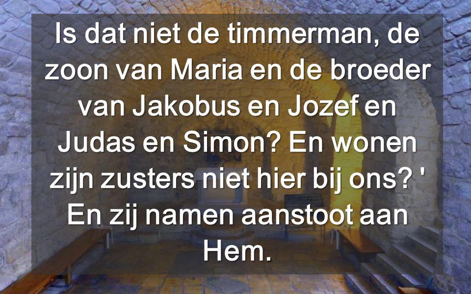Is dat niet de timmerman, de zoon van Maria en de broeder van Jakobus en Jozef en Judas en Simon.