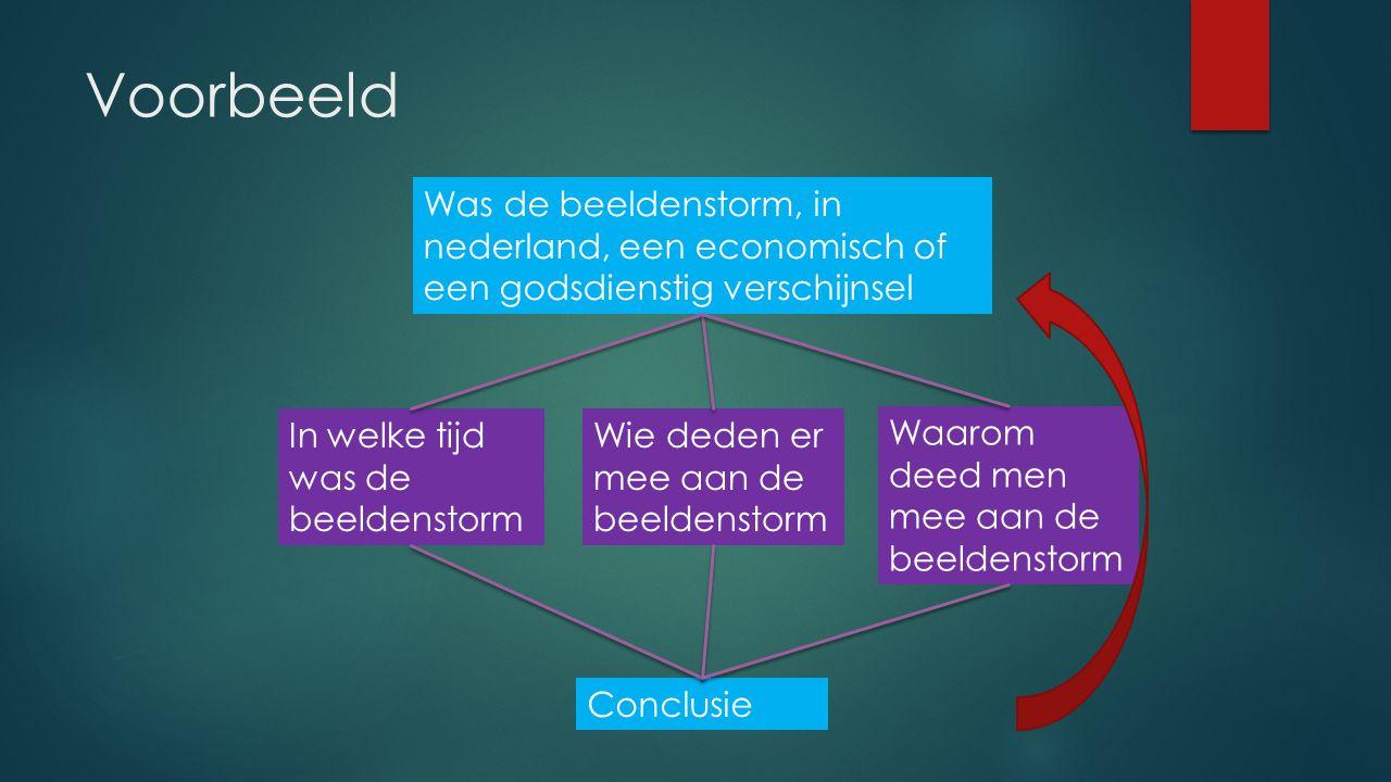 Voorbeeld Was de beeldenstorm, in nederland, een economisch of een godsdienstig verschijnsel In welke tijd was de beeldenstorm Wie deden er mee aan de
