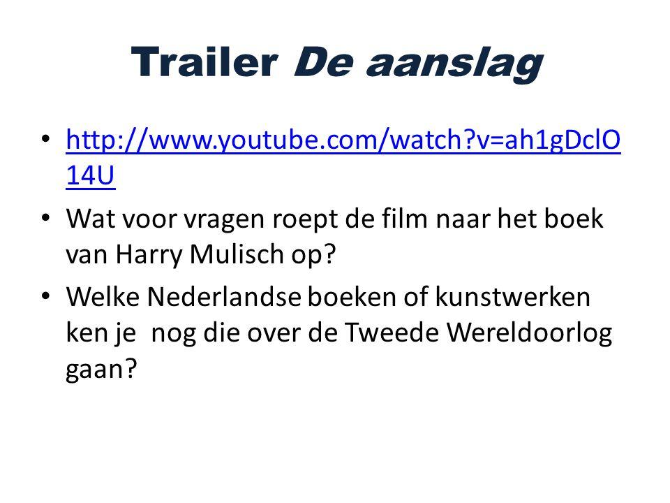 Trailer De aanslag http://www.youtube.com/watch?v=ah1gDclO 14U http://www.youtube.com/watch?v=ah1gDclO 14U Wat voor vragen roept de film naar het boek