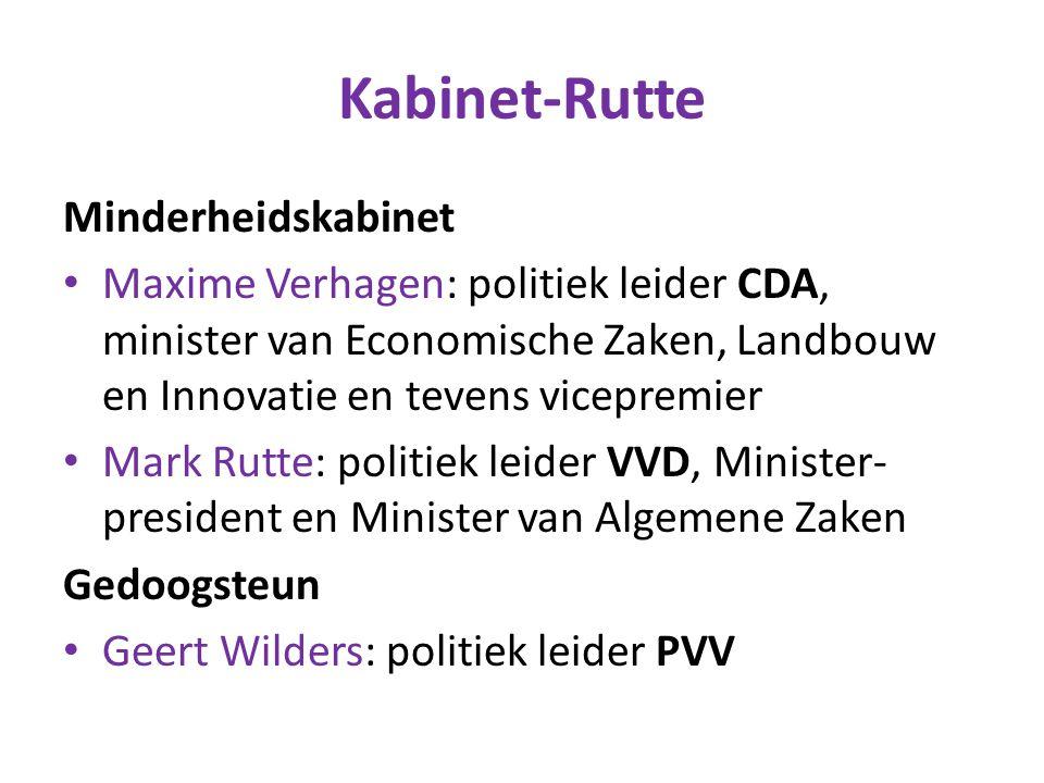 Kabinet-Rutte Minderheidskabinet Maxime Verhagen: politiek leider CDA, minister van Economische Zaken, Landbouw en Innovatie en tevens vicepremier Mar