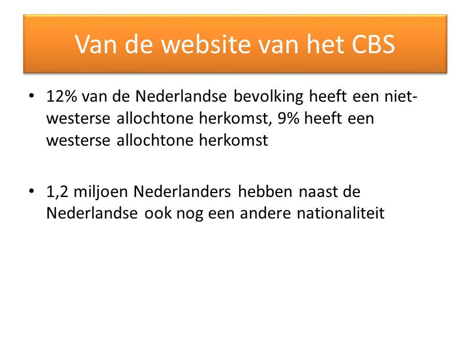 Van de website van het CBS 12% van de Nederlandse bevolking heeft een niet- westerse allochtone herkomst, 9% heeft een westerse allochtone herkomst 1,2 miljoen Nederlanders hebben naast de Nederlandse ook nog een andere nationaliteit