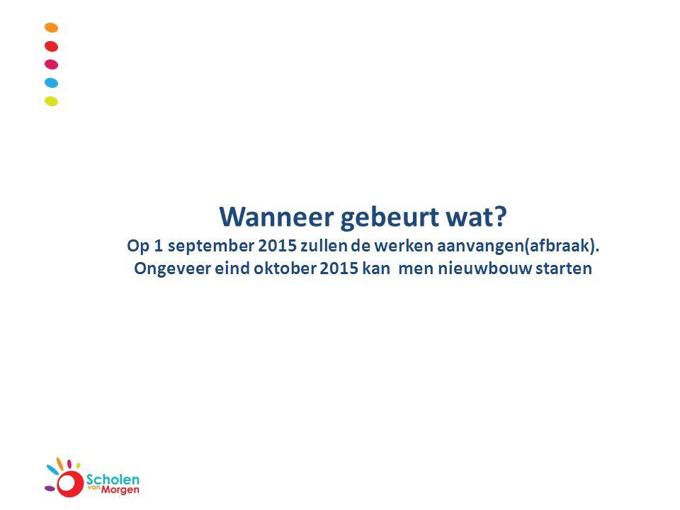 Wanneer gebeurt wat? Op 1 september 2015 zullen de werken aanvangen(afbraak). Ongeveer eind oktober 2015 kan men nieuwbouw starten