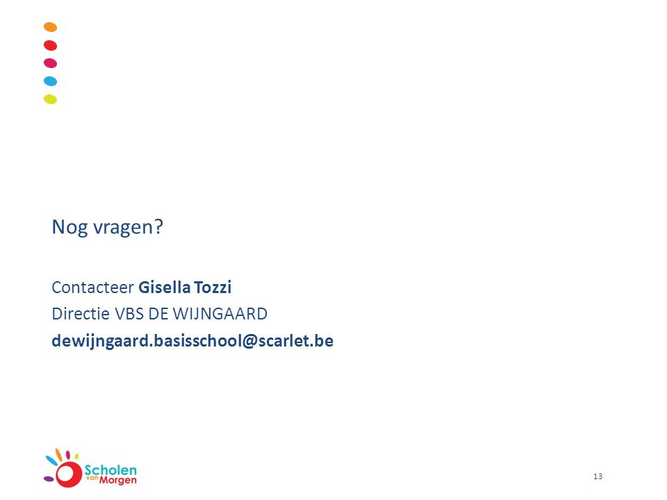 Nog vragen? Contacteer Gisella Tozzi Directie VBS DE WIJNGAARD dewijngaard.basisschool@scarlet.be 13