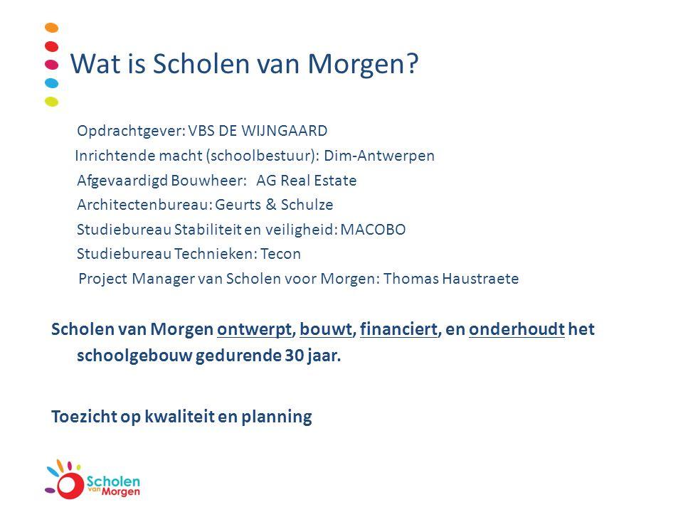 Wat is Scholen van Morgen? Opdrachtgever:VBS DE WIJNGAARD Inrichtende macht (schoolbestuur): Dim-Antwerpen Afgevaardigd Bouwheer:AG Real Estate Archit