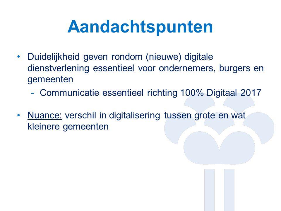 Aandachtspunten Duidelijkheid geven rondom (nieuwe) digitale dienstverlening essentieel voor ondernemers, burgers en gemeenten -Communicatie essentieel richting 100% Digitaal 2017 Nuance: verschil in digitalisering tussen grote en wat kleinere gemeenten