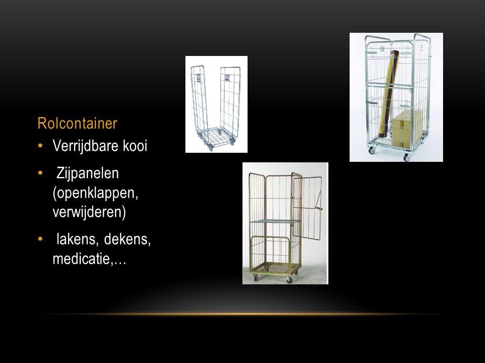Rolcontainer Verrijdbare kooi Zijpanelen (openklappen, verwijderen) lakens, dekens, medicatie,…