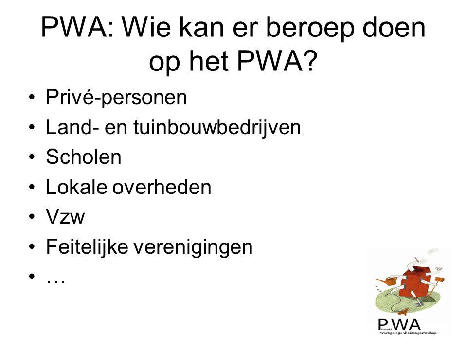 PWA: Wie kan er beroep doen op het PWA? Privé-personen Land- en tuinbouwbedrijven Scholen Lokale overheden Vzw Feitelijke verenigingen …