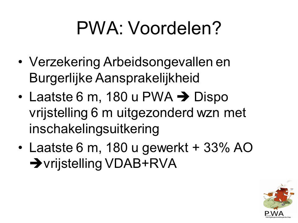 PWA: Voordelen? Verzekering Arbeidsongevallen en Burgerlijke Aansprakelijkheid Laatste 6 m, 180 u PWA  Dispo vrijstelling 6 m uitgezonderd wzn met in