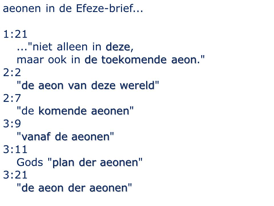 aeonen in de Efeze-brief...