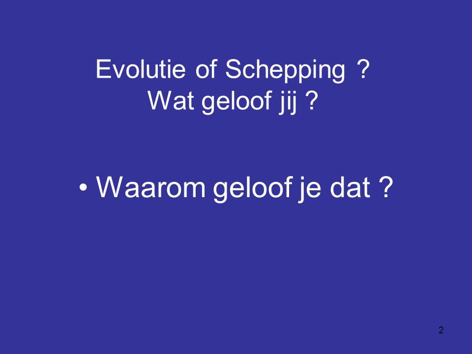 2 Evolutie of Schepping ? Wat geloof jij ? Waarom geloof je dat ?