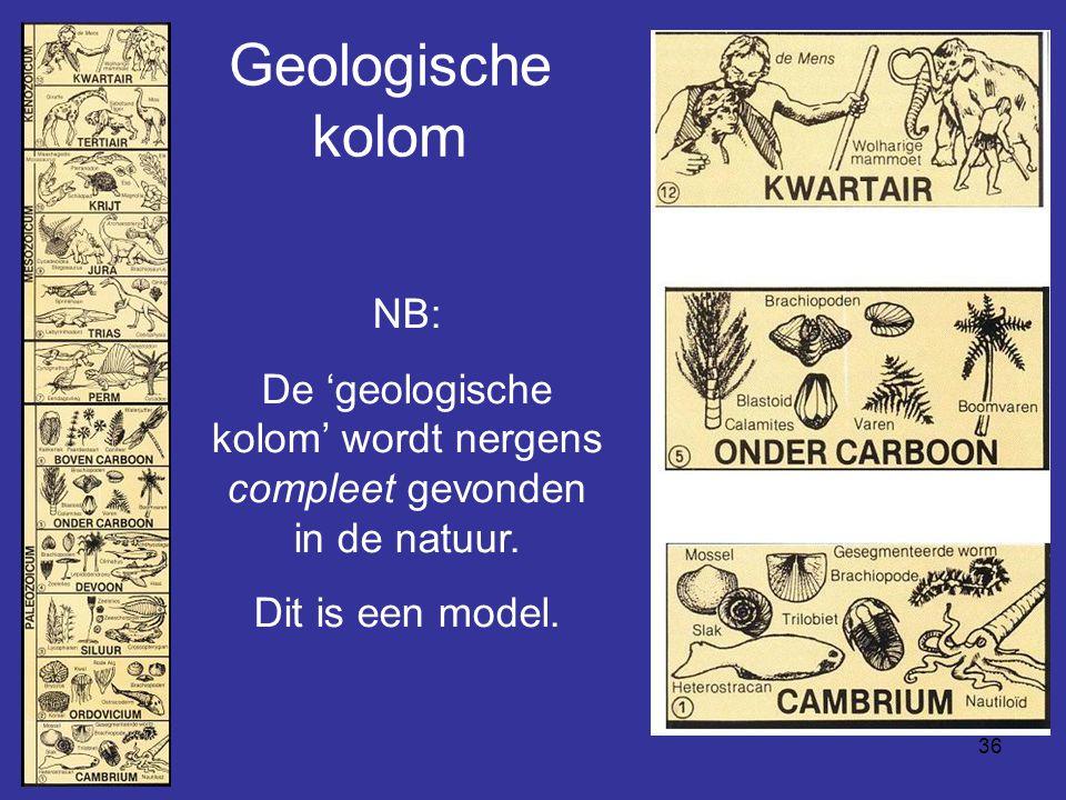 36 Geologische kolom NB: De 'geologische kolom' wordt nergens compleet gevonden in de natuur. Dit is een model.