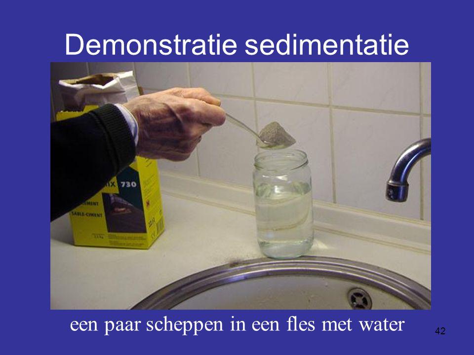 42 Demonstratie sedimentatie een paar scheppen in een fles met water