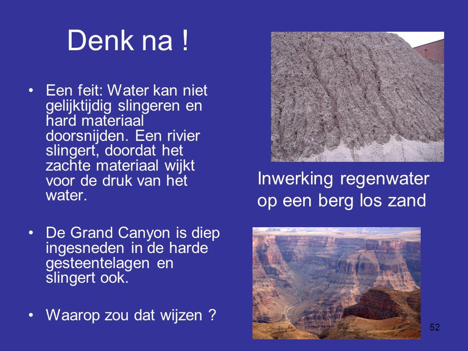 52 Denk na ! Een feit: Water kan niet gelijktijdig slingeren en hard materiaal doorsnijden. Een rivier slingert, doordat het zachte materiaal wijkt vo