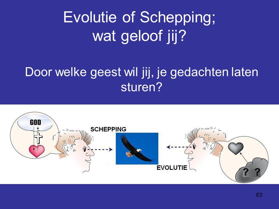 63 Evolutie of Schepping; wat geloof jij? Door welke geest wil jij, je gedachten laten sturen?