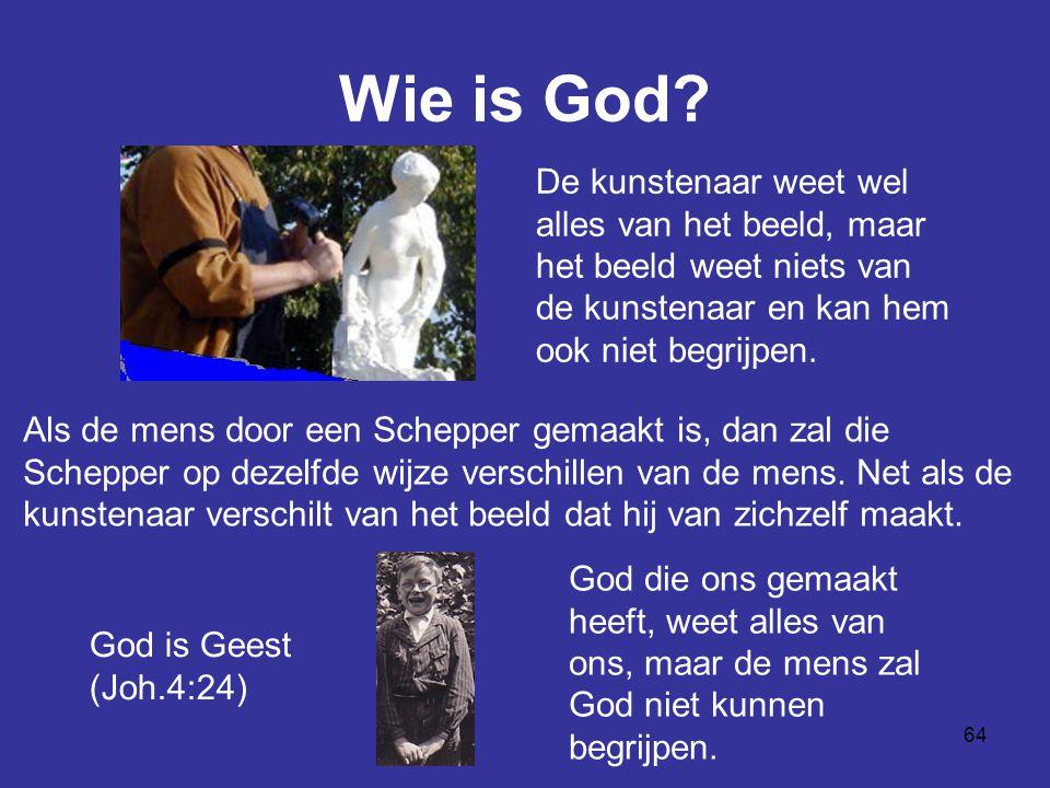 64 Wie is God? De kunstenaar weet wel alles van het beeld, maar het beeld weet niets van de kunstenaar en kan hem ook niet begrijpen. God die ons gema