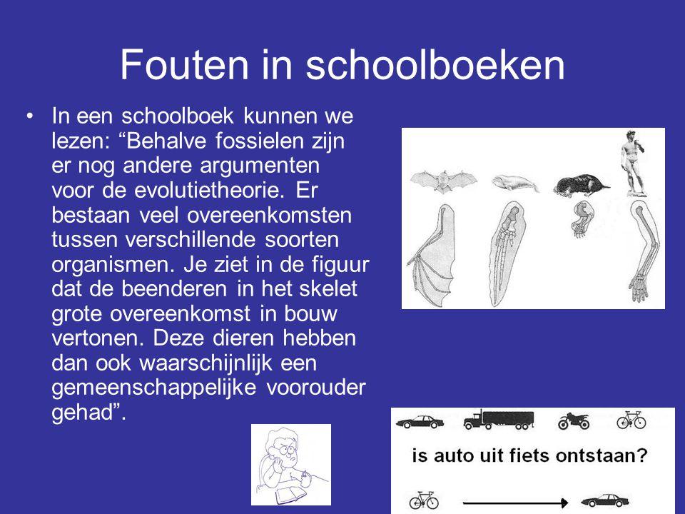 """66 Fouten in schoolboeken In een schoolboek kunnen we lezen: """"Behalve fossielen zijn er nog andere argumenten voor de evolutietheorie. Er bestaan veel"""