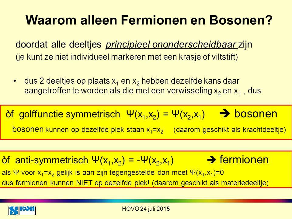 Waarom alleen Fermionen en Bosonen? doordat alle deeltjes principieel ononderscheidbaar zijn (je kunt ze niet individueel markeren met een krasje of v