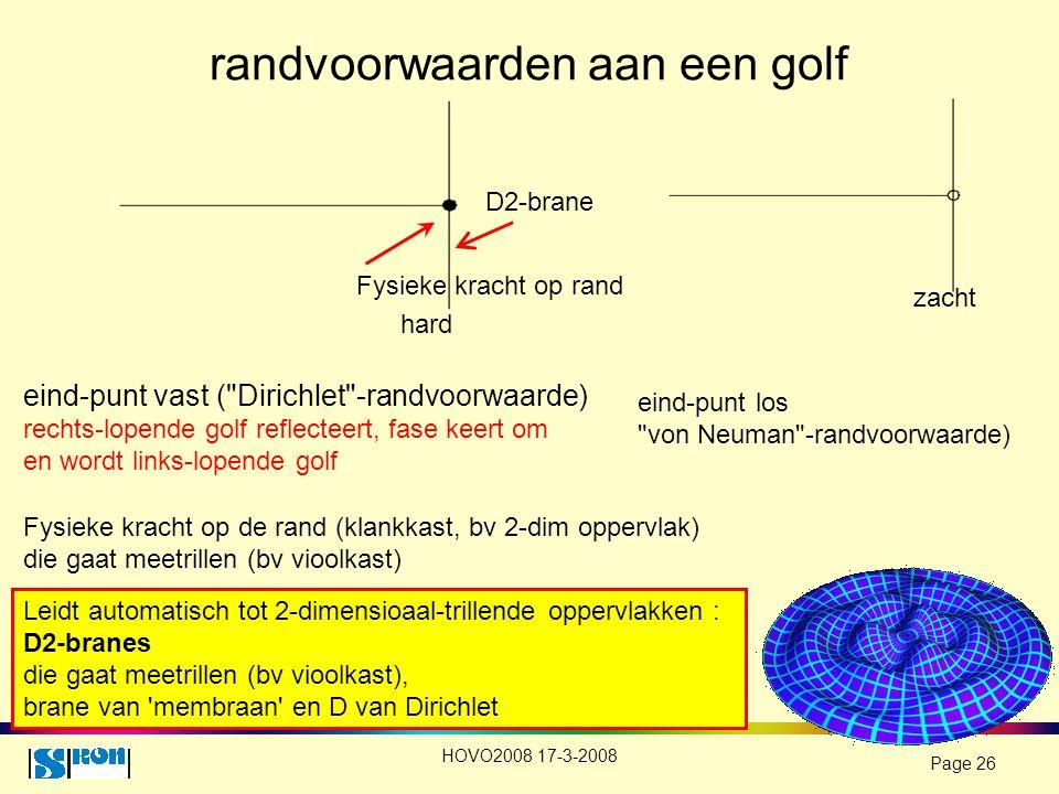 HOVO2008 17-3-2008 Page 26 randvoorwaarden aan een golf eind-punt vast (