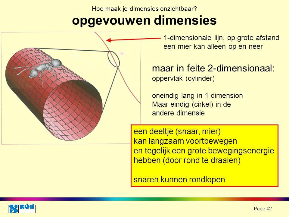 Page 42 Hoe maak je dimensies onzichtbaar? opgevouwen dimensies maar in feite 2-dimensionaal: oppervlak (cylinder) oneindig lang in 1 dimension Maar e