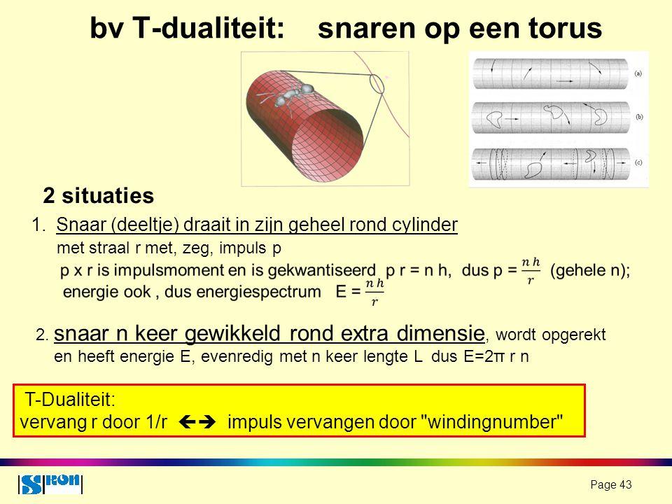 Page 43 bv T-dualiteit: snaren op een torus 1.Snaar (deeltje) draait in zijn geheel rond cylinder met straal r met, zeg, impuls p 2. snaar n keer gewi