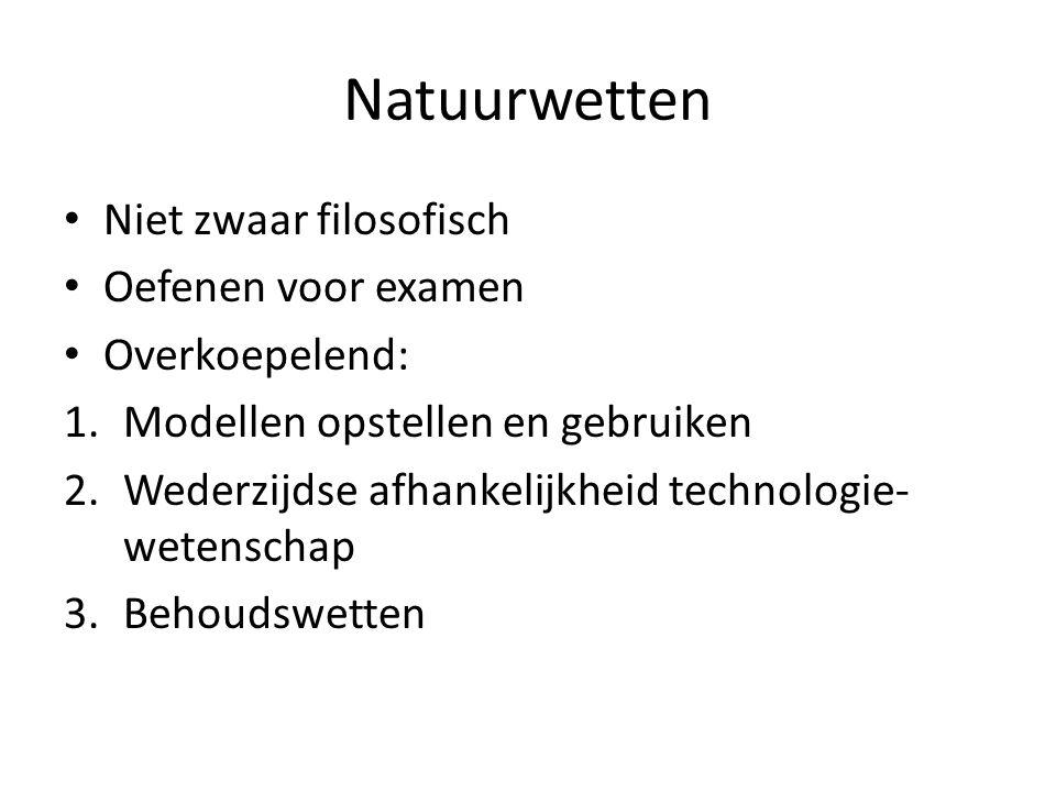 Natuurwetten Niet zwaar filosofisch Oefenen voor examen Overkoepelend: 1.Modellen opstellen en gebruiken 2.Wederzijdse afhankelijkheid technologie- wetenschap 3.Behoudswetten