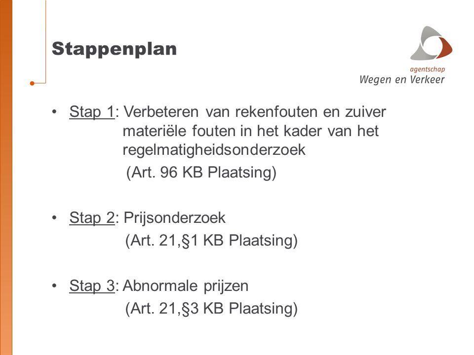 Stappenplan Stap 1: Verbeteren van rekenfouten en zuiver materiële fouten in het kader van het regelmatigheidsonderzoek (Art. 96 KB Plaatsing) Stap 2: