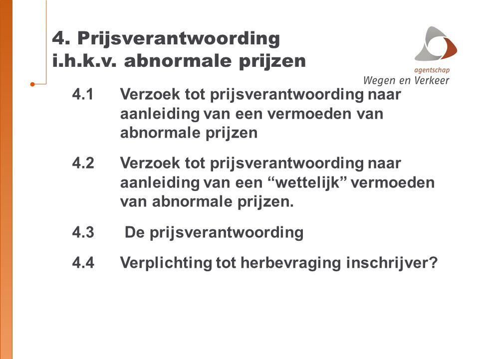 4. Prijsverantwoording i.h.k.v. abnormale prijzen 4.1 Verzoek tot prijsverantwoording naar aanleiding van een vermoeden van abnormale prijzen 4.2 Verz