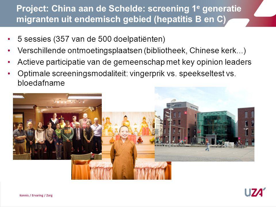 5 sessies (357 van de 500 doelpatiënten) Verschillende ontmoetingsplaatsen (bibliotheek, Chinese kerk...) Actieve participatie van de gemeenschap met key opinion leaders Optimale screeningsmodaliteit: vingerprik vs.