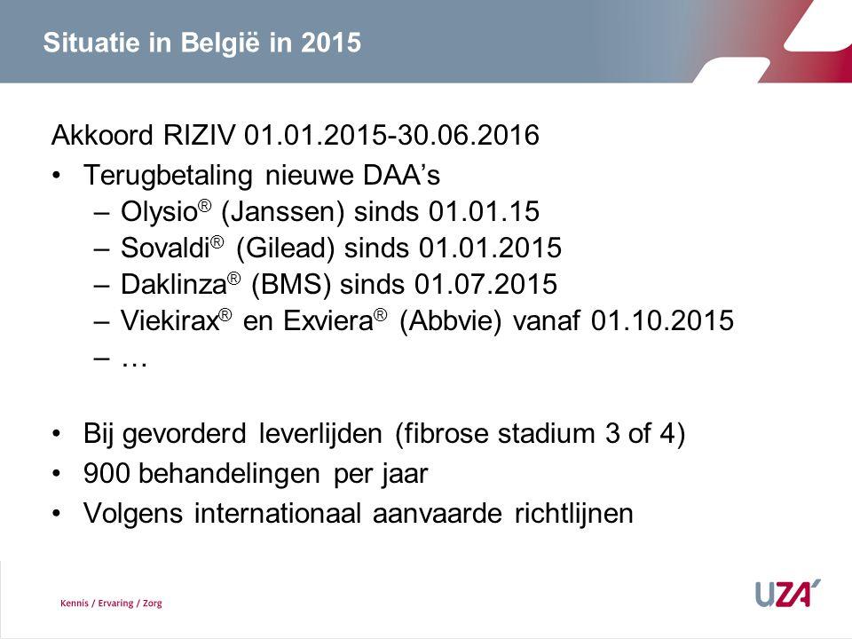 Situatie in België in 2015 Akkoord RIZIV 01.01.2015-30.06.2016 Terugbetaling nieuwe DAA's –Olysio ® (Janssen) sinds 01.01.15 –Sovaldi ® (Gilead) sinds