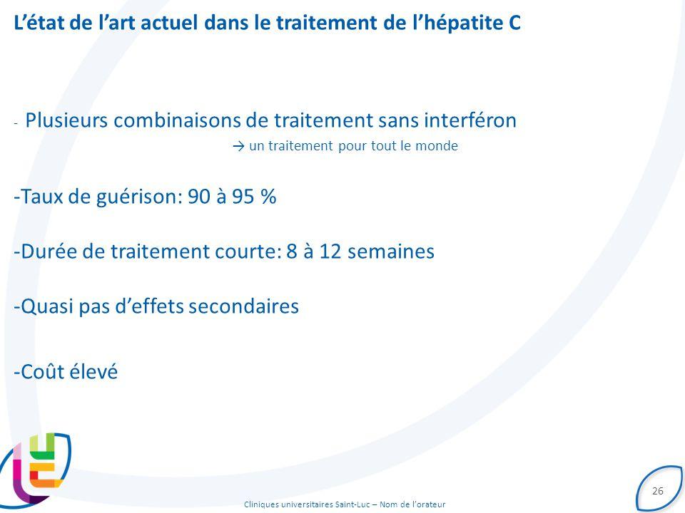 Cliniques universitaires Saint-Luc – Nom de l'orateur L'état de l'art actuel dans le traitement de l'hépatite C - Plusieurs combinaisons de traitement