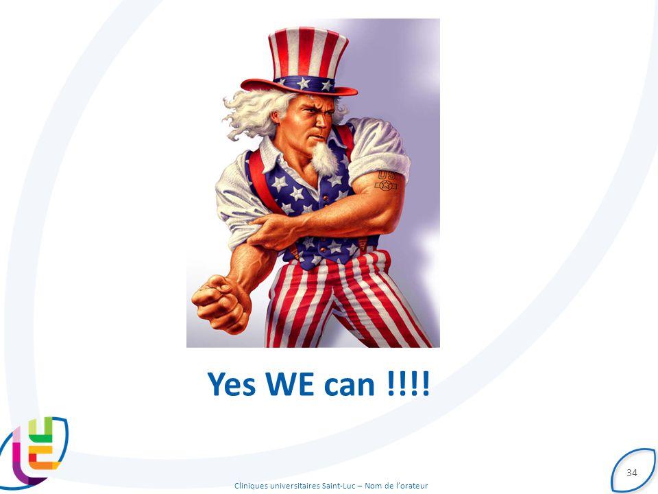 Cliniques universitaires Saint-Luc – Nom de l'orateur 34 Yes WE can !!!!