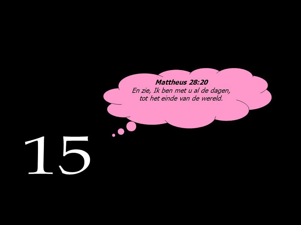 Mattheus 28:20 En zie, Ik ben met u al de dagen, tot het einde van de wereld.