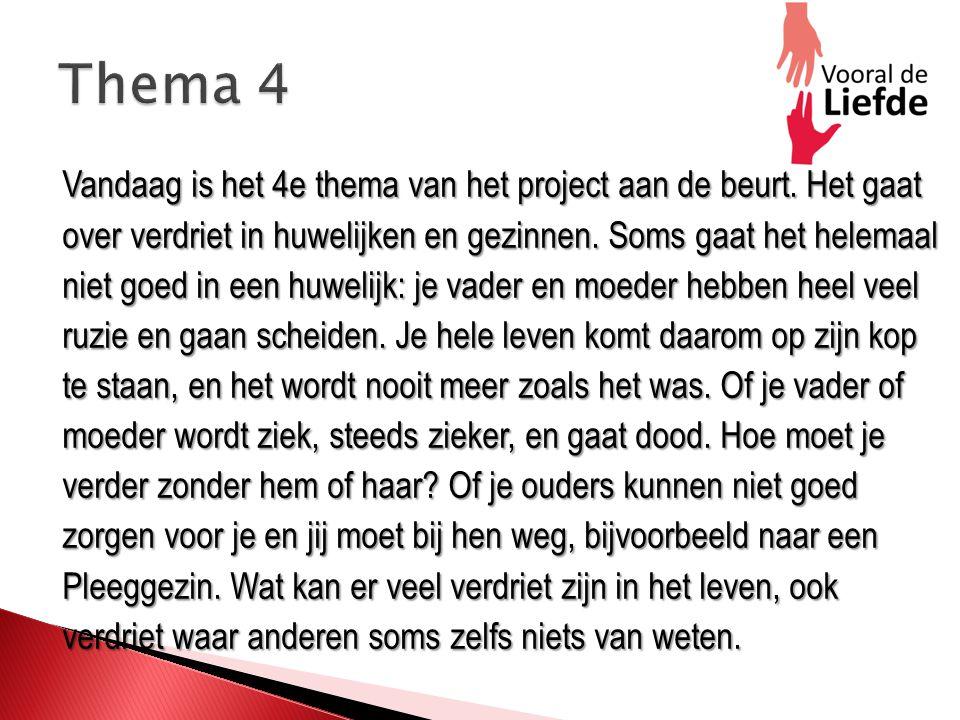 Vandaag is het 4e thema van het project aan de beurt.
