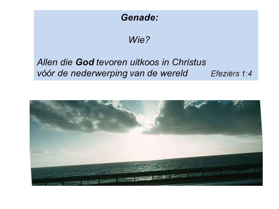 Genade: Wie? Allen die God tevoren uitkoos in Christus vóór de nederwerping van de wereld Efeziërs 1:4
