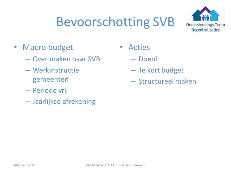 Bevoorschotting SVB Macro budget – Over maken naar SVB – Werkinstructie gemeenten – Periode vrij – Jaarlijkse afrekening Acties – Doen.