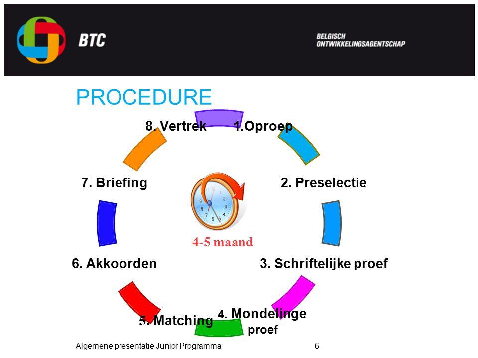 Algemene presentatie Junior Programma6 PROCEDURE 1.Oproep 2. Preselectie 3. Schriftelijke proef 4. Mondelinge proef 5. Matching 6. Akkoorden 7. Briefi