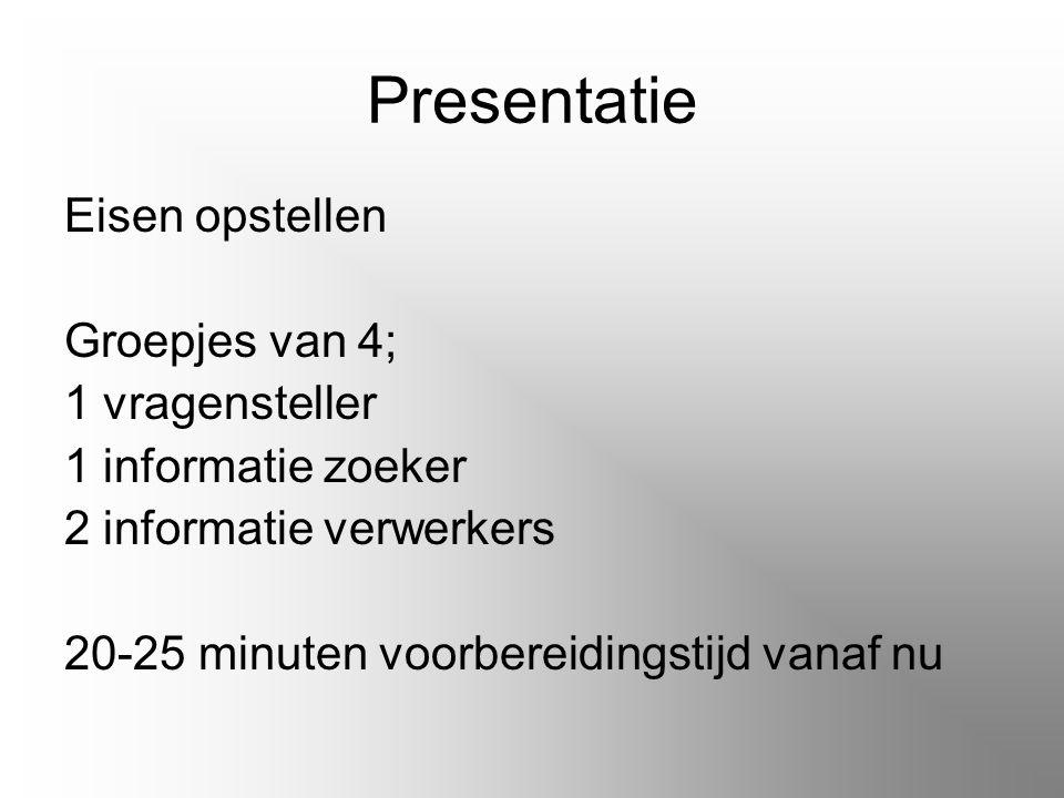 Presentatie Eisen opstellen Groepjes van 4; 1 vragensteller 1 informatie zoeker 2 informatie verwerkers 20-25 minuten voorbereidingstijd vanaf nu