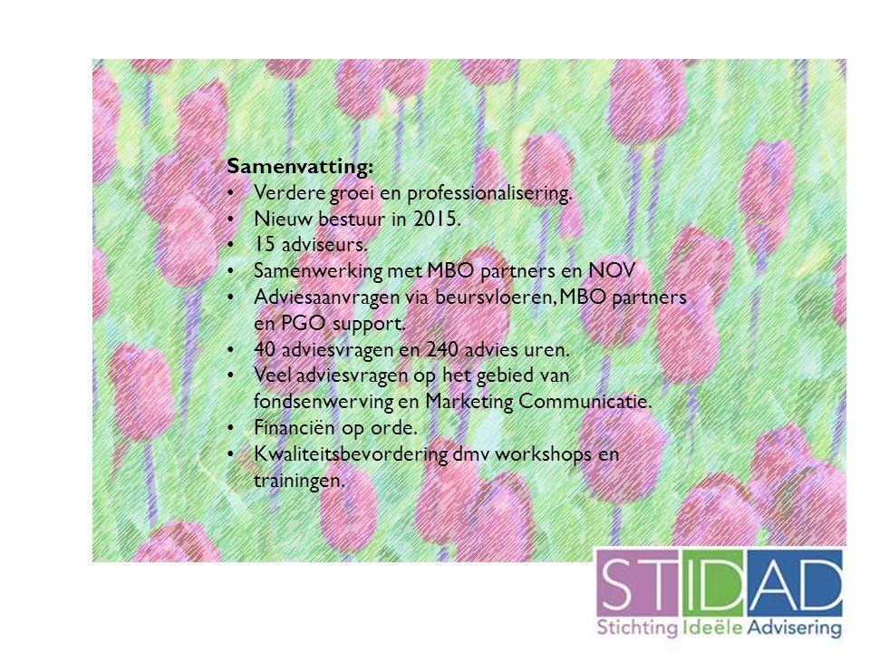 Samenvatting: Verdere groei en professionalisering. Nieuw bestuur in 2015. 15 adviseurs. Samenwerking met MBO partners en NOV Adviesaanvragen via beur