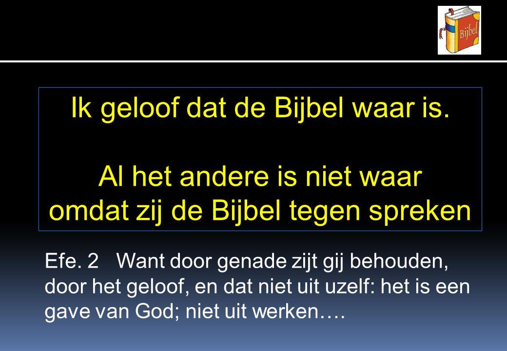 Ik geloof dat de Bijbel waar is. Al het andere is niet waar omdat zij de Bijbel tegen spreken Efe.