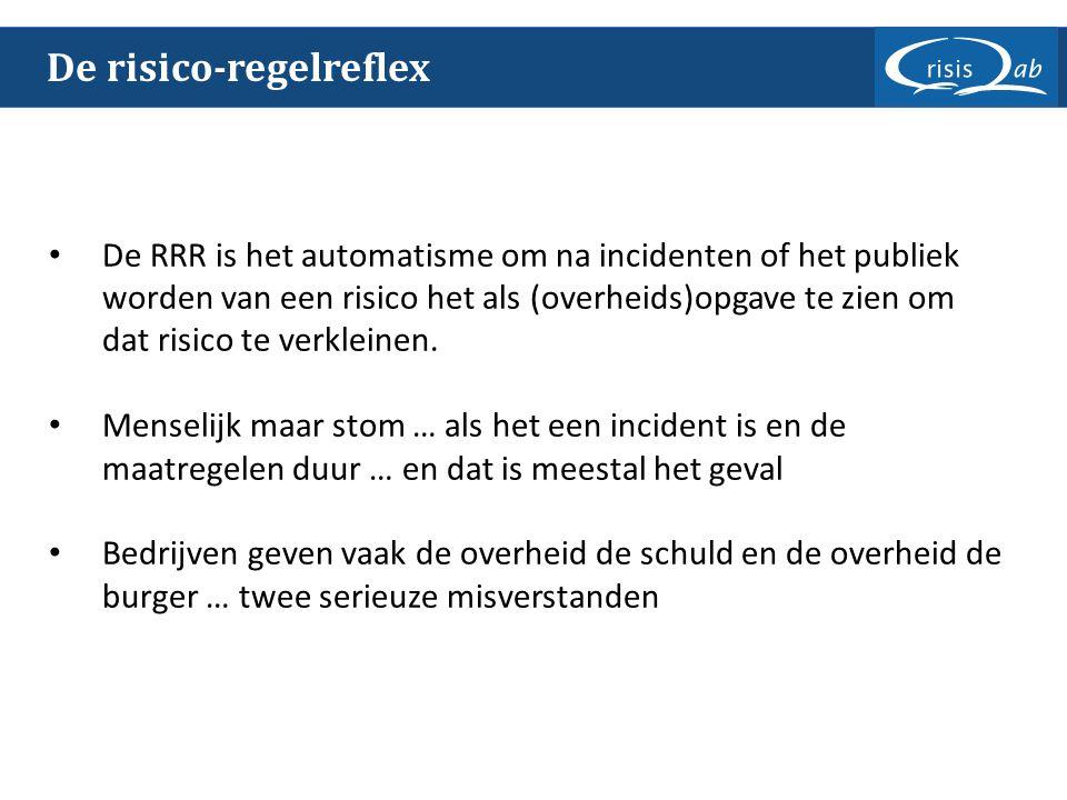 De risico-regelreflex De RRR is het automatisme om na incidenten of het publiek worden van een risico het als (overheids)opgave te zien om dat risico