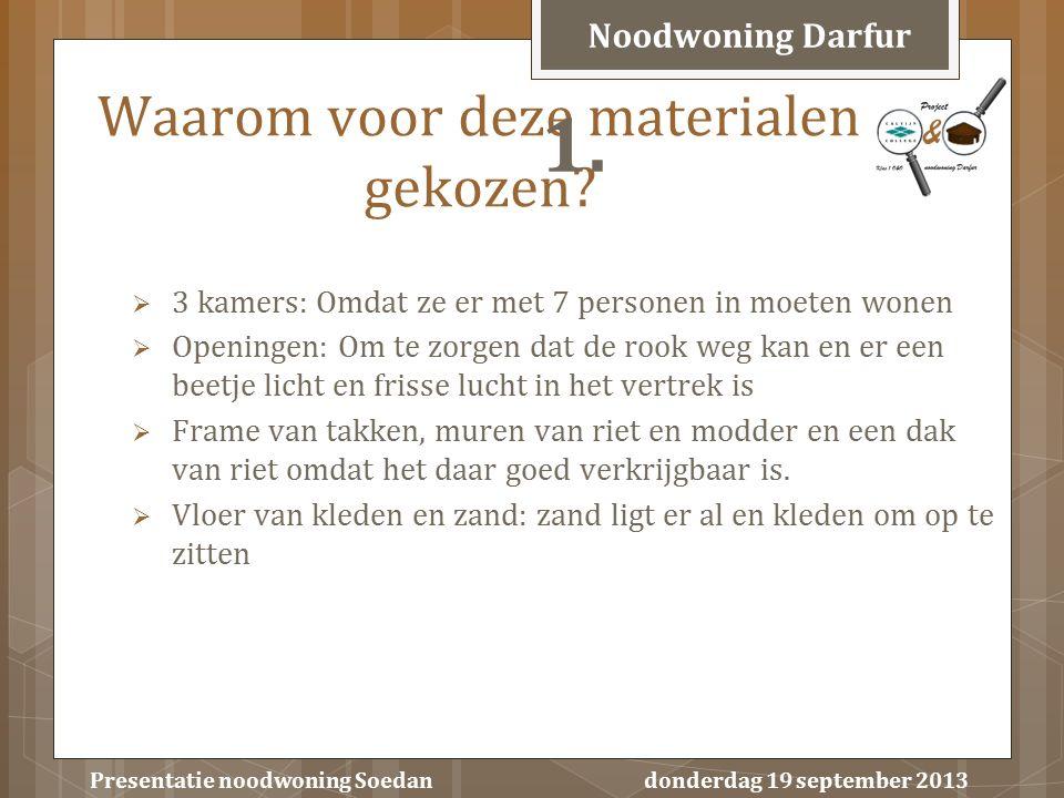 Presentatie noodwoning Soedan donderdag 19 september 2013  3 kamers: Omdat ze er met 7 personen in moeten wonen  Openingen: Om te zorgen dat de rook