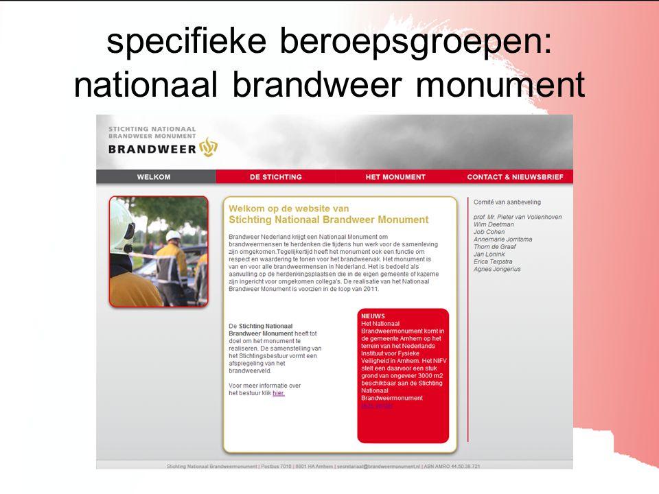 specifieke beroepsgroepen: nationaal brandweer monument
