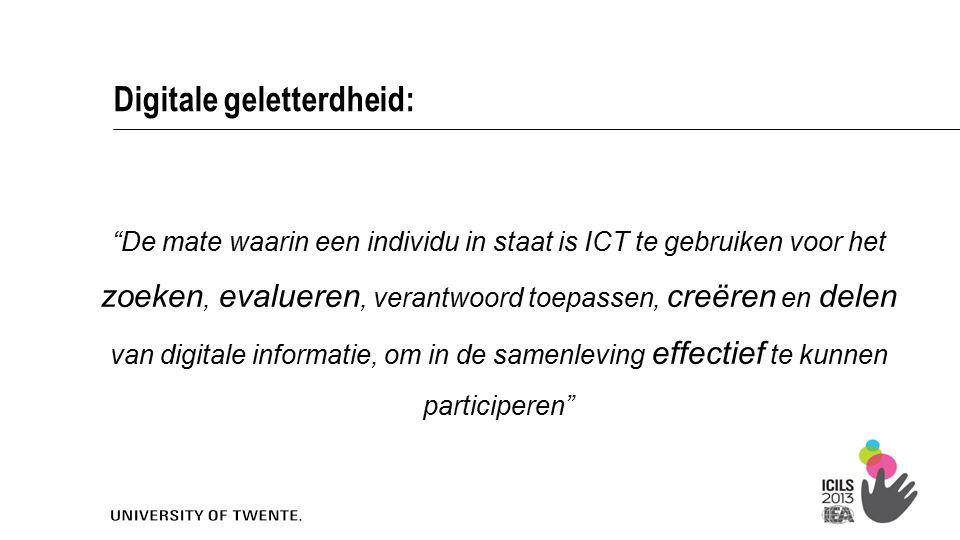 """""""De mate waarin een individu in staat is ICT te gebruiken voor het zoeken, evalueren, verantwoord toepassen, creëren en delen van digitale informatie,"""