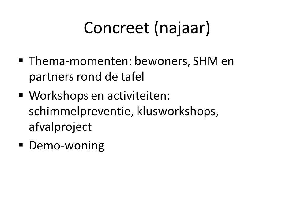 Concreet (najaar)  Thema-momenten: bewoners, SHM en partners rond de tafel  Workshops en activiteiten: schimmelpreventie, klusworkshops, afvalprojec